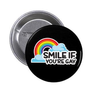 Sonría si usted es orgullo gay del arco iris LGBT Chapa Redonda De 5 Cm