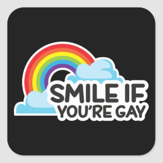 Sonría si usted es orgullo gay del arco iris LGBT Pegatina Cuadrada