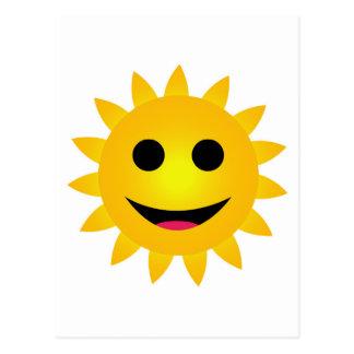 Sonrisa amarilla brillante del sol postal