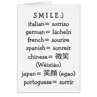 SONRISA EN MUCHOS LANGUAGES-BE FELICES EN SU CUMPL FELICITACIÓN