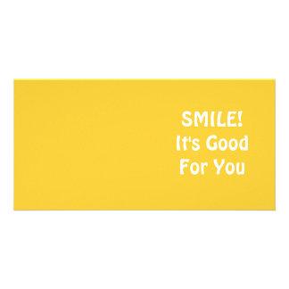 ¡SONRISA! Es bueno para usted. Amarillo Tarjetas Con Fotos Personalizadas