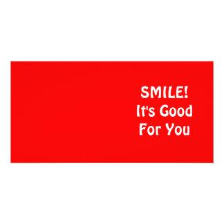 ¡SONRISA Es bueno para usted Rojo Tarjetas Fotograficas Personalizadas