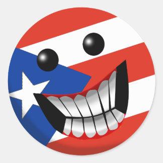 Sonrisa puertorriqueña etiquetas redondas