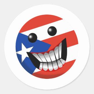 Sonrisa puertorriqueña pegatina redonda
