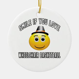 Sonrisa si usted ama baloncesto de silla de ruedas adorno para reyes