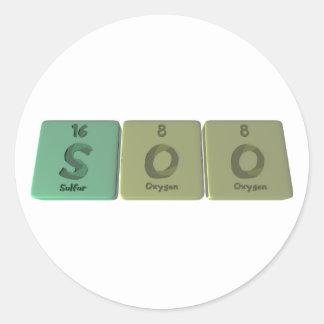 Soo como oxígeno del oxígeno del azufre etiquetas