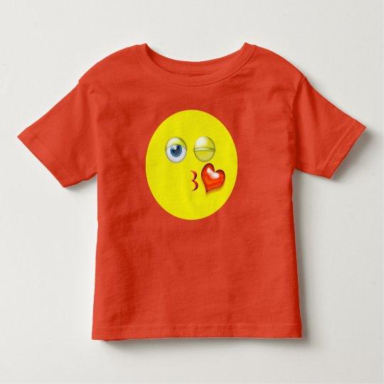 Soplo lindo un beso Emoji amarillo rojo Camiseta De Bebé