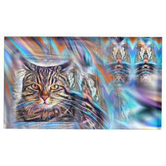 Soporte Para Tarjetas De Mesa A la deriva en gato tropical de la puesta del sol