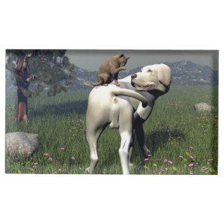 Soporte Para Tarjetas De Mesa Amistad del perro y del gato