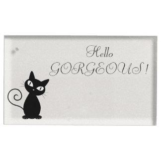 Soporte Para Tarjetas De Mesa Gato negro caprichoso peculiar Reluciente-Hola