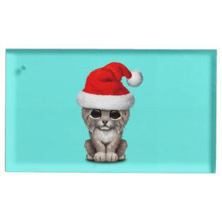 Soporte Para Tarjetas De Mesa Lince lindo Cub que lleva un gorra de Santa