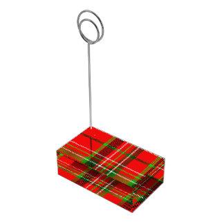 Soporte Para Tarjetas De Mesa Modelo del tartán del navidad