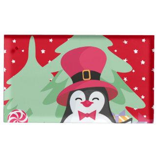 Soporte Para Tarjetas De Mesa Pingüino festivo con el trineo