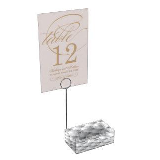 Soporte Para Tarjetas De Mesa Portatarjetas blanco de la tabla del edredón del