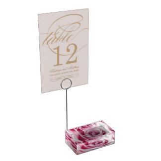 Soporte Para Tarjetas De Mesa Portatarjetas floral color de rosa rosado de la