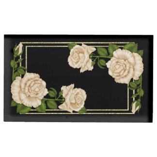 Soporte Para Tarjetas De Mesa Rosas de marfil elegantes y brillo del oro