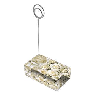 Soporte Para Tarjetas De Mesa Rosas Tenedor-Blancos de la tarjeta de la tabla