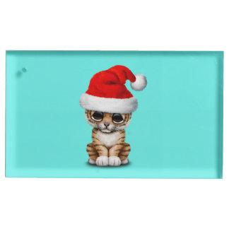 Soporte Para Tarjetas De Mesa Tigre Cub lindo que lleva un gorra de Santa