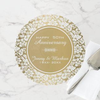 Soporte Para Tartas Aniversario blanco elegante del círculo 50.o del