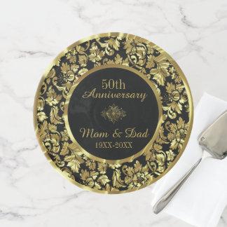 Soporte Para Tartas Aniversario del oro y de boda del negro 50.o