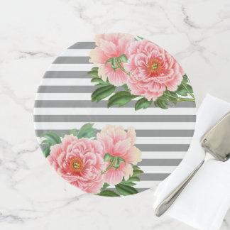 Soporte Para Tartas Líneas rosadas del gris de los peonies