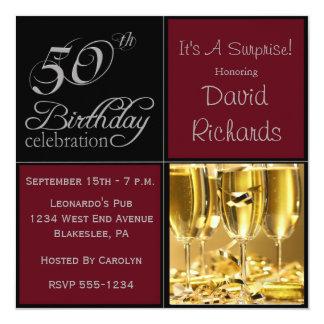 Sorprenda la 50.a fiesta de cumpleaños Borgoña y Invitación 13,3 Cm X 13,3cm