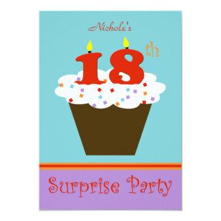 Sorprenda la décimo octava invitación de la fiesta invitación 12,7 x 17,8 cm