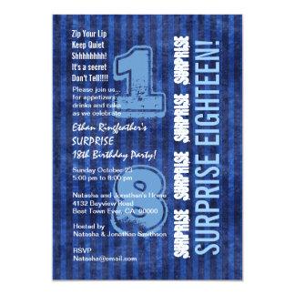 SORPRENDA las rayas azules W555 del décimo octavo Invitación 12,7 X 17,8 Cm