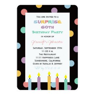 Sorprenda los 60.os puntos coloridos de la fiesta invitación 12,7 x 17,8 cm