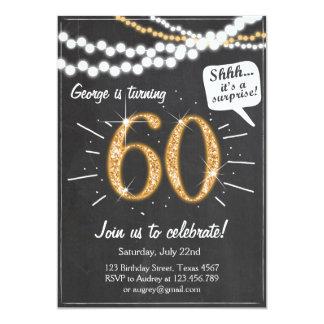Sorpresa 60 sesenta invitaciones del cumpleaños de invitación 12,7 x 17,8 cm
