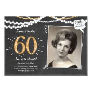 Sorpresa 60 sesenta invitaciones del cumpleaños invitación 12,7 x 17,8 cm