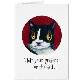 ¡SORPRESA del cumpleaños del gato! Tarjeta Pequeña