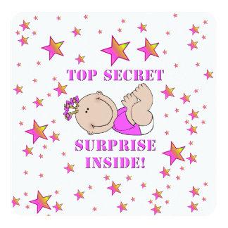 Sorpresa SECRETÍSIMA - niña rosada Invitación 13,3 Cm X 13,3cm