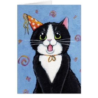 ¡Sorpresa! tarjeta del feliz cumpleaños del gato