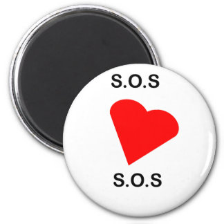 SOS s o s mi corazón Imán De Frigorífico