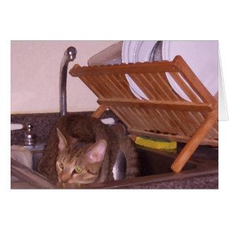 Sous-Cocinero del gato que oculta en el fregadero  Felicitación