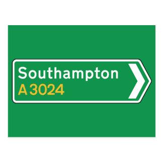 Southampton, señal de tráfico BRITÁNICA Postal