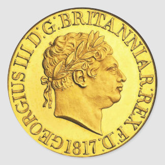 Sovereign británico 1817 (paquete del oro de 6/20) pegatina redonda