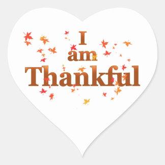 soy agradecido pegatina en forma de corazón