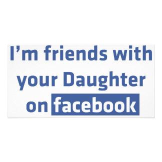 Soy amigos con su hija en facebook tarjetas fotográficas personalizadas