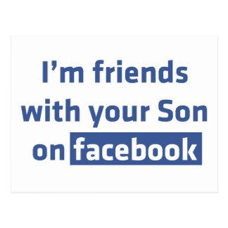 Soy amigos con su hijo en facebook. postal