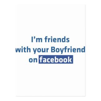 Soy amigos con su novio en facebook postal