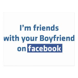 Soy amigos con su novio en facebook tarjeta postal