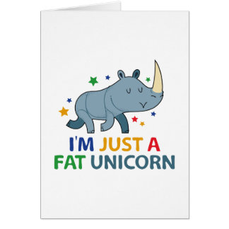 Soy apenas un unicornio gordo tarjeta de felicitación