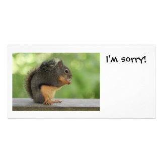 Soy ardilla triste de la disculpa tarjetas fotográficas personalizadas