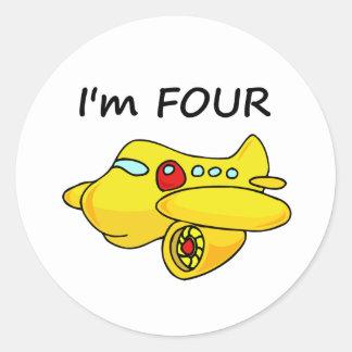 Soy cuatro, avión amarillo pegatina redonda