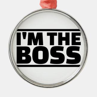 Soy el jefe adorno navideño redondo de metal