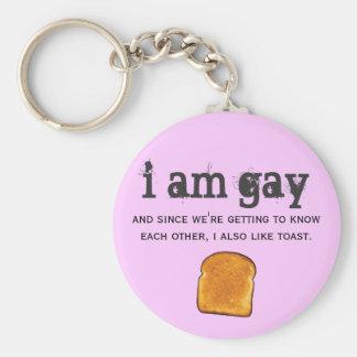 soy gay y también tengo gusto de la tostada llavero redondo tipo chapa