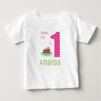 Soy hoy 1 torta de cumpleaños camiseta de bebé