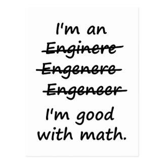 Soy ingeniero que soy bueno en la matemáticas postal